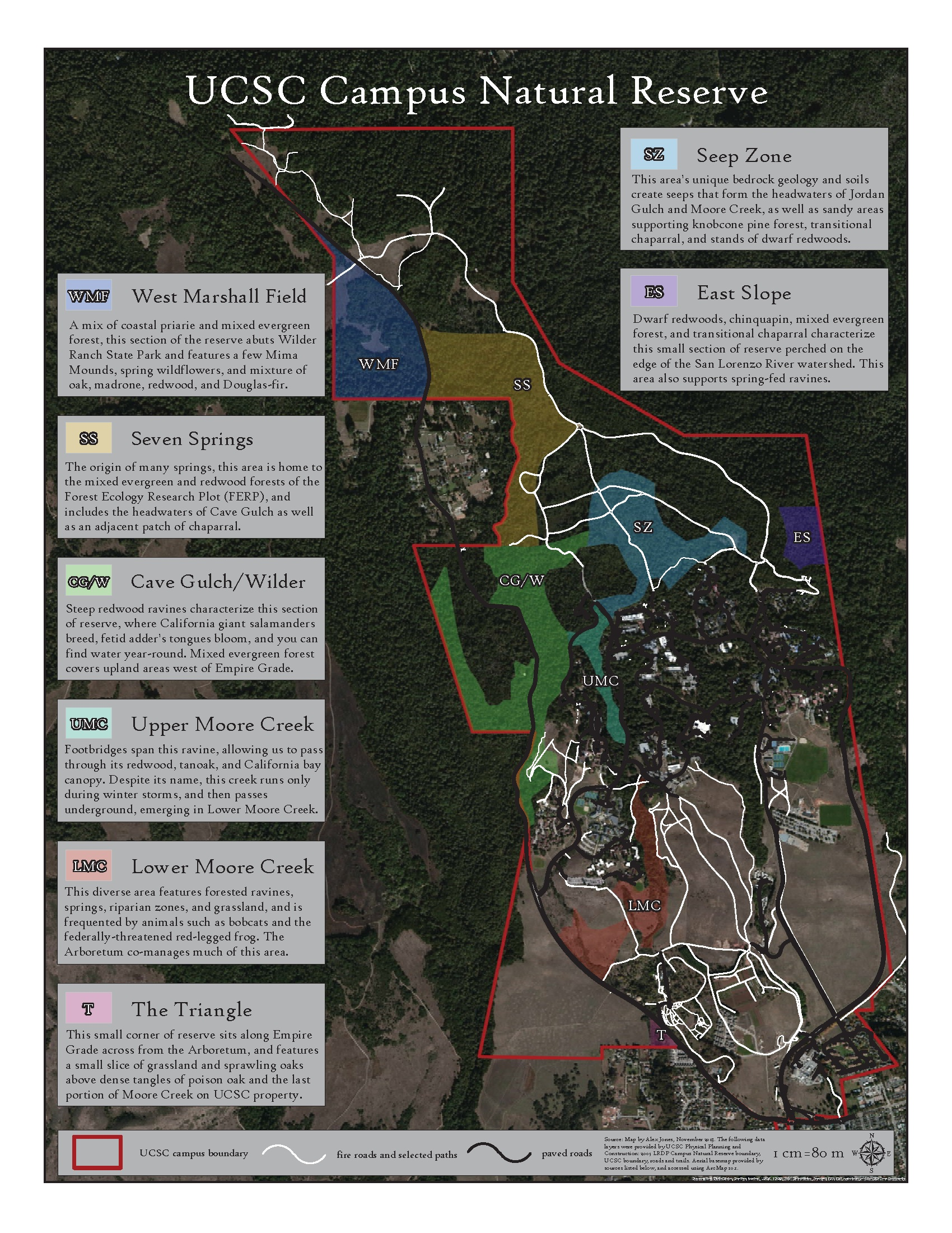 This map image details habitat sectors of the UCSC Campus Natural Reserve